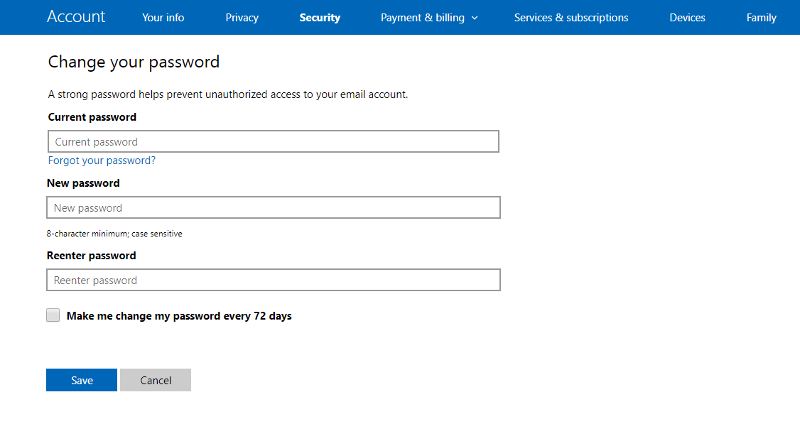 choose new hotmail password
