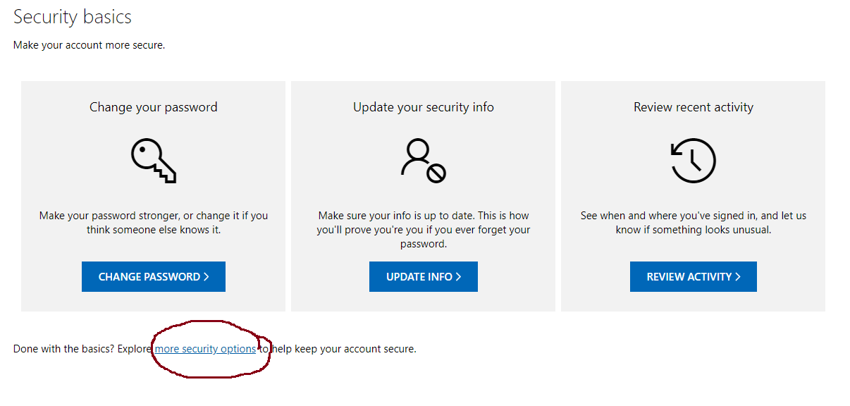 hotmail more security options