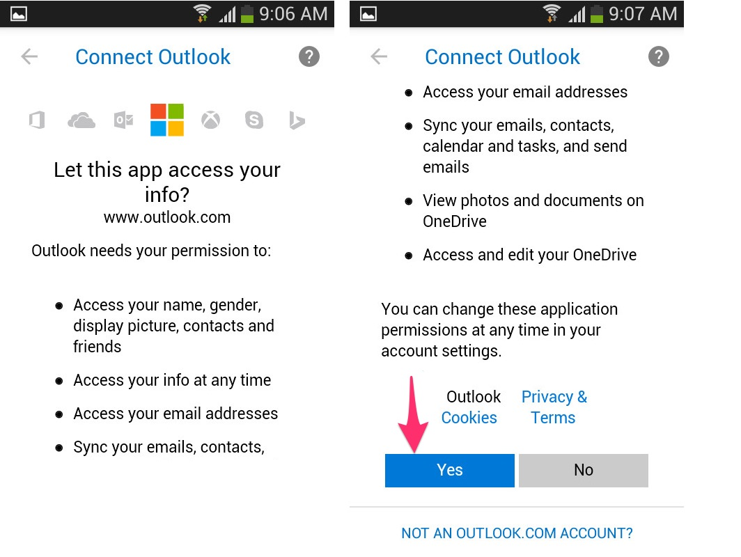 msn.com email settings android