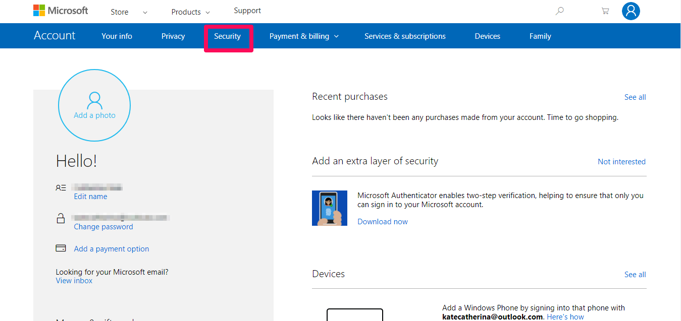 hotmail security tab