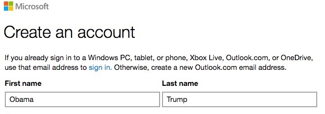 create Microsoft account name