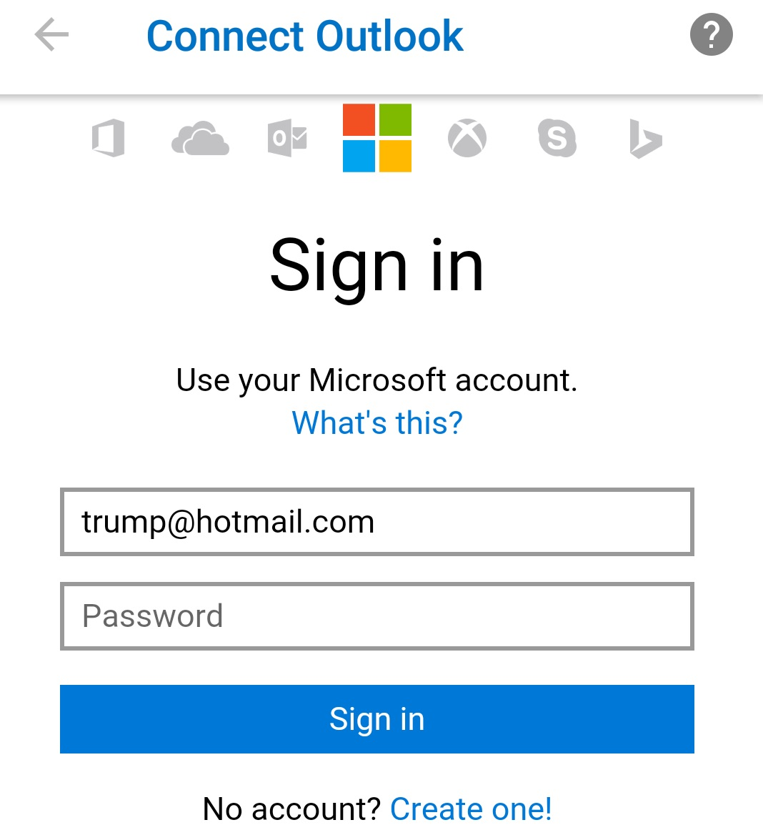 hotmail android connect outlook