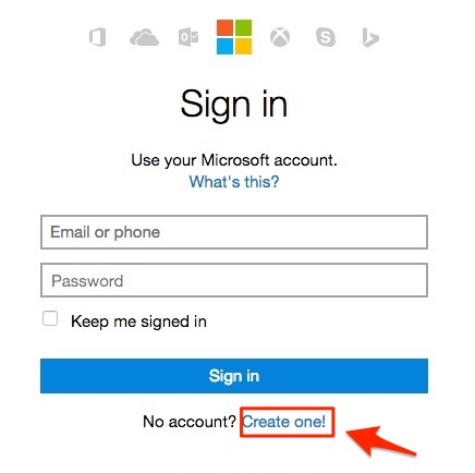 hotmail sign up button